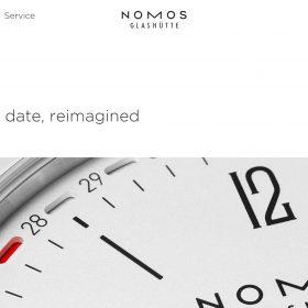 時計メーカー「NOMOS Glashütte」のホームページデザインがシンプルで心地良い