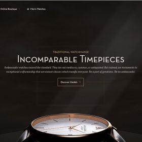 """Ambassador watches"" ホームページデザインが時計の雰囲気を伝える"
