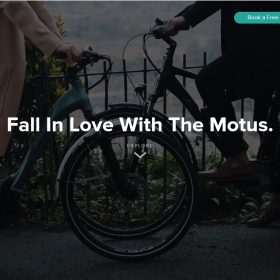 ストーリーで目を引く電動自転車のホームページデザイン「Motus」