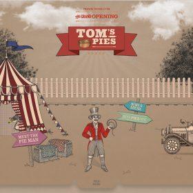 「Tom's Pies」イラストのインパクトで忘れないホームページデザイン