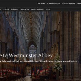 イギリス国教会の教会らしい「ウェストミンスター寺院」のウェブデザイン