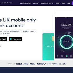 「Starling bank」ネット系銀行らしいホームページデザイン
