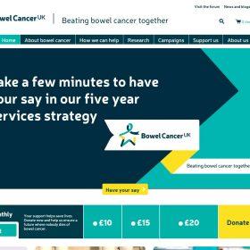 """""""Bowel Cancer"""" 腸のがんを一緒に倒そうというコンセプトの団体のサイト"""
